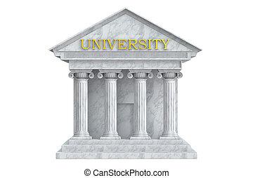 università, interpretazione, colonne, costruzione, 3d