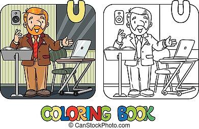 università, lecturer., coloritura, divertente, libro