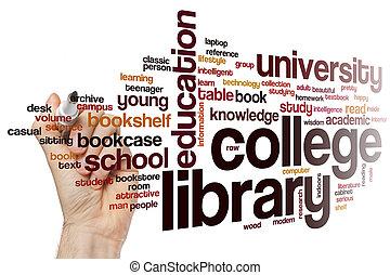 università, parola, biblioteca, nuvola