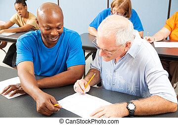 università, più vecchio, studente, tutori, compagno classe
