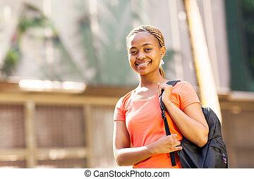 università, studente università, africano femmina