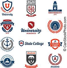universität, und, hochschule, embleme
