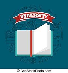 universitäts ausbildung, emblem, ikone