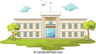 université, dessin animé, beauté