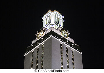 université, nuit, tour, texas, horloge