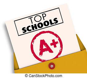 universités, collèges, sommet, illustration, écoles, mieux, rapporter carte, 3d