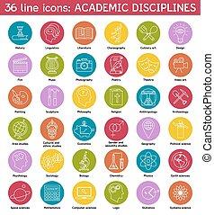 universitaire, ensemble, disciplines, icônes
