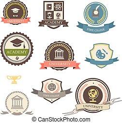 universiteit, academie, heraldisch, emblems, universiteit, logo
