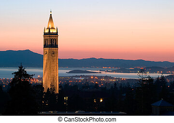 universiteit, berkeley, toren, sather