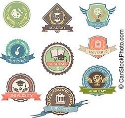universiteit, grafisch, illustratie, universiteit, -, vrijstaand, symbolen, emblems, vector, ontwerp, logo