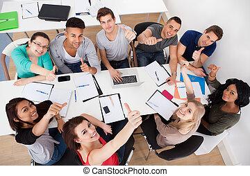 universiteit, scholieren, doen, groep, studeren