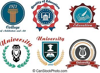 universiteit, universiteit, emblems, kentekens, of