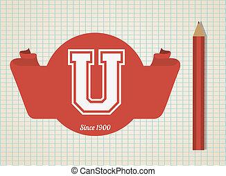 universiteit, vector, ontwerp, illustration.