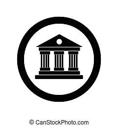 universiteit, witte , vrijstaand, achtergrond, pictogram