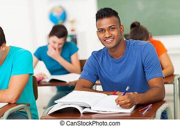 universiteitsstudenten, in, klaslokaal
