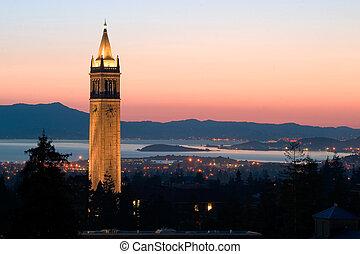 universitet, berkeley, tårn, sather