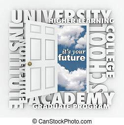 universitet, högskola, ord, öppen dörr, till, din, framtid