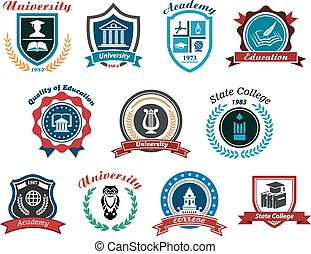 University, academy and college emblems or logos set for...