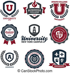 University and college crests - Set of university and...