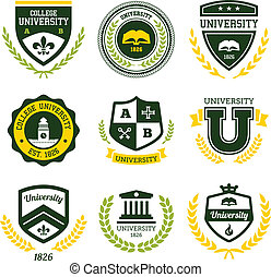 University and college crests - Set of university and ...