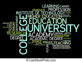 University and college education word cloud illustration....