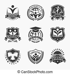 University And College Logos Emblem Set