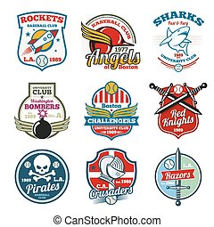 University and college school vector labels, logos, badges...