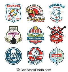 University and college school vector labels, logos, badges emblems set. T-shirt design