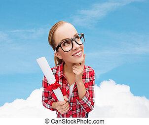 smiling woman in black eyeglasses with diploma - university ...