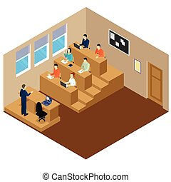Isometric university auditory student lecture composition with people who sit at their desks vector illustration
