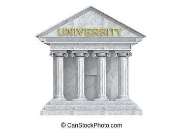University building with columns, 3D rendering