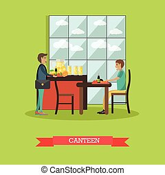 University canteen vector illustration in flat style