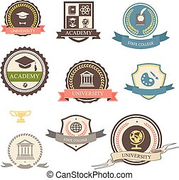 University, college and academy heraldic emblems logo with...