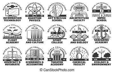 University, college and academy icons - University, college ...