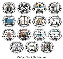 University, college and academy vector icons - University, ...