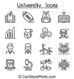 University, college, school icon set in thin line style