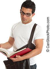 University college student reading