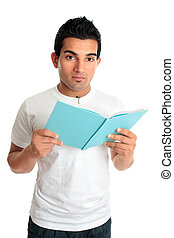 University college student with open book - A male college...