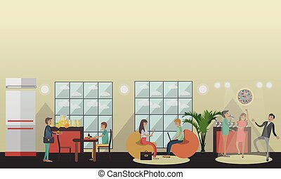 University common room vector illustration in flat style