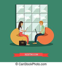 University common room vector illustration in flat style
