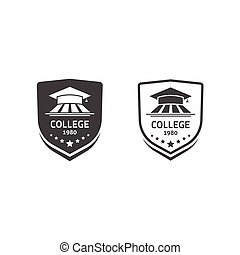 University crests and college school emblems set vector logos