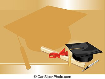 traditional hat with parchment university diploma and fountain pen on a gold background
