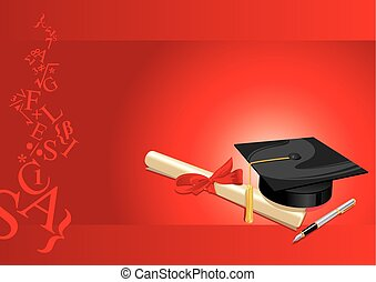 traditional hat with parchment university diploma and fountain pen on a red background