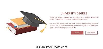 University Degree Web Books Pile and Academic Hat -...