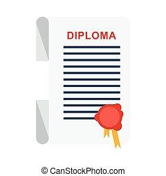 university diploma isolated - Cartoon flat vector...