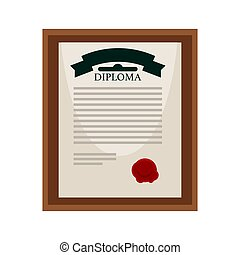 University diploma with red seal in wooden frame -...