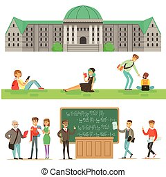 University Education, Students And Professors Set Of...