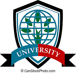 University education symbol with earth globe, tree and ...