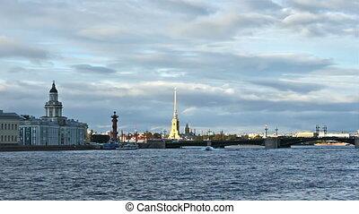 University Embankment and Palace Bridge, timelapse, Saint...