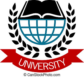 University emblem with a globe and open book surrounded by a...